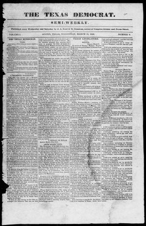 Primary view of object titled 'The Texas Democrat (Austin, Tex.), Vol. 1, No. 9, Ed. 1, Wednesday, March 11, 1846'.