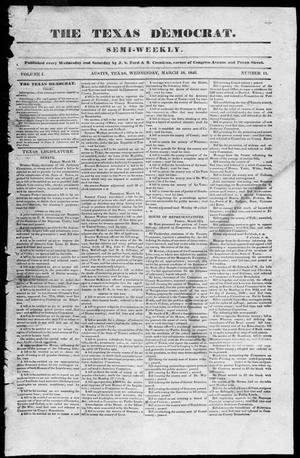 Primary view of object titled 'The Texas Democrat (Austin, Tex.), Vol. 1, No. 11, Ed. 1, Wednesday, March 18, 1846'.