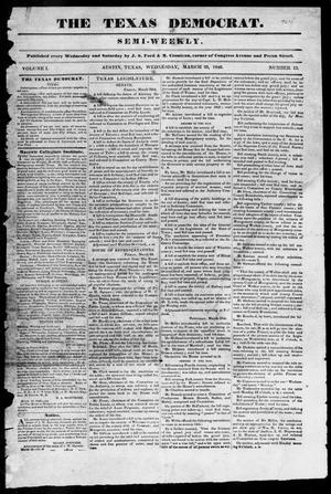 Primary view of object titled 'The Texas Democrat (Austin, Tex.), Vol. 1, No. 13, Ed. 1, Wednesday, March 25, 1846'.