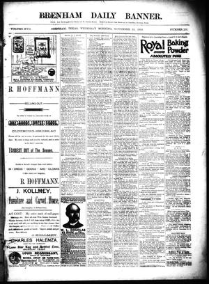 Primary view of Brenham Daily Banner. (Brenham, Tex.), Vol. 17, No. 201, Ed. 1 Tuesday, November 22, 1892