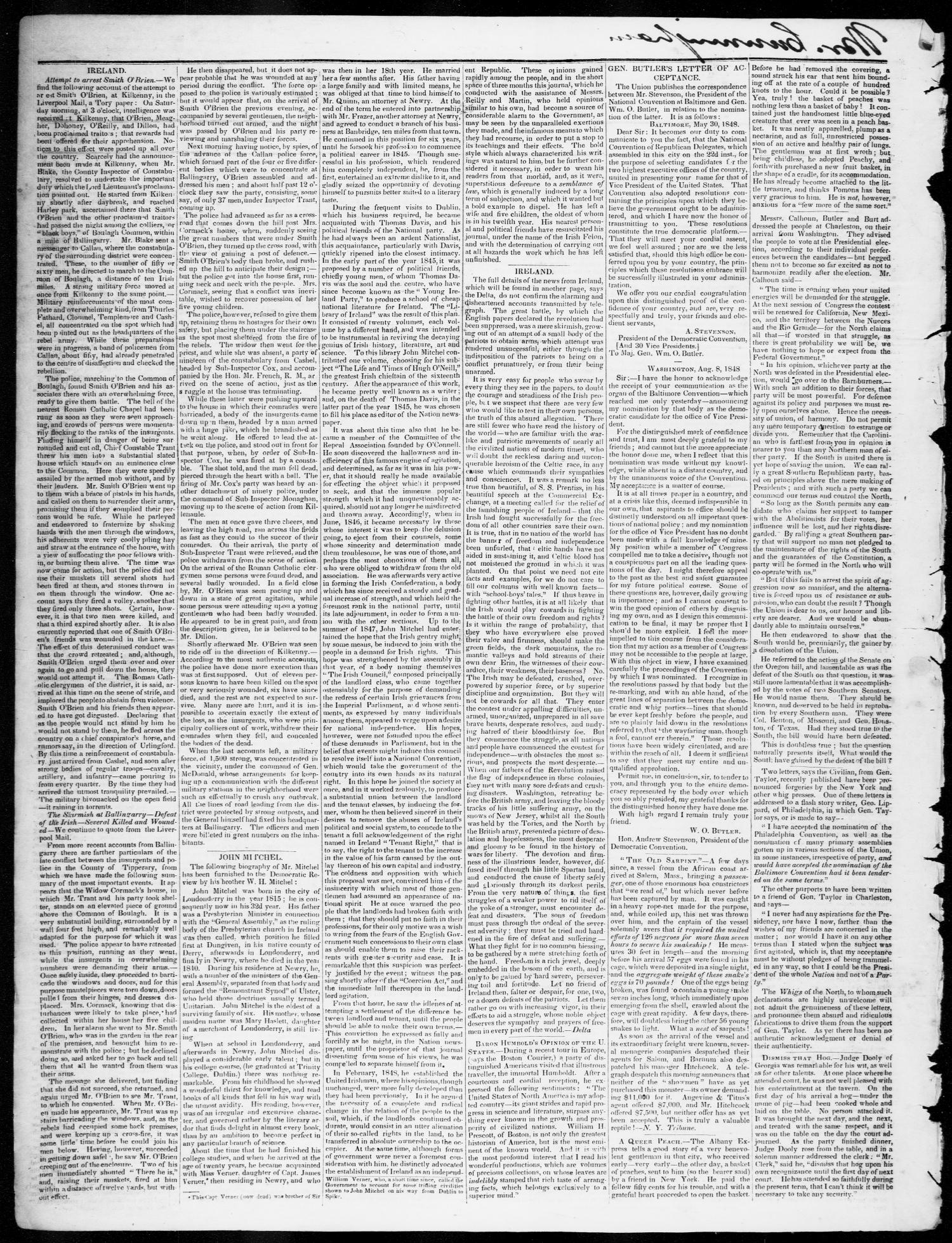 The Texas Democrat (Austin, Tex.), Vol. 3, No. 47, Ed. 1, Wednesday, September 20, 1848                                                                                                      [Sequence #]: 2 of 4