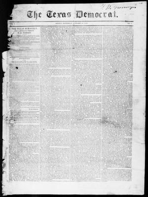 Primary view of object titled 'The Texas Democrat (Austin, Tex.), Vol. 1, No. 1, Ed. 1, Saturday, January 27, 1849'.