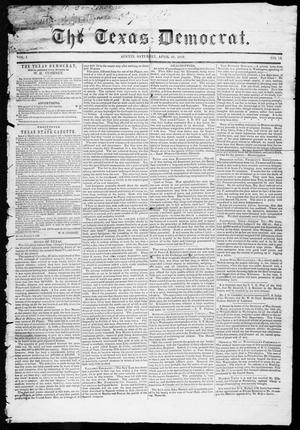 Primary view of object titled 'The Texas Democrat (Austin, Tex.), Vol. 1, No. 13, Ed. 1, Saturday, April 21, 1849'.