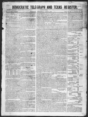 Primary view of object titled 'Democratic Telegraph and Texas Register (Houston, Tex.), Vol. 11, No. 14, Ed. 1, Wednesday, April 8, 1846'.