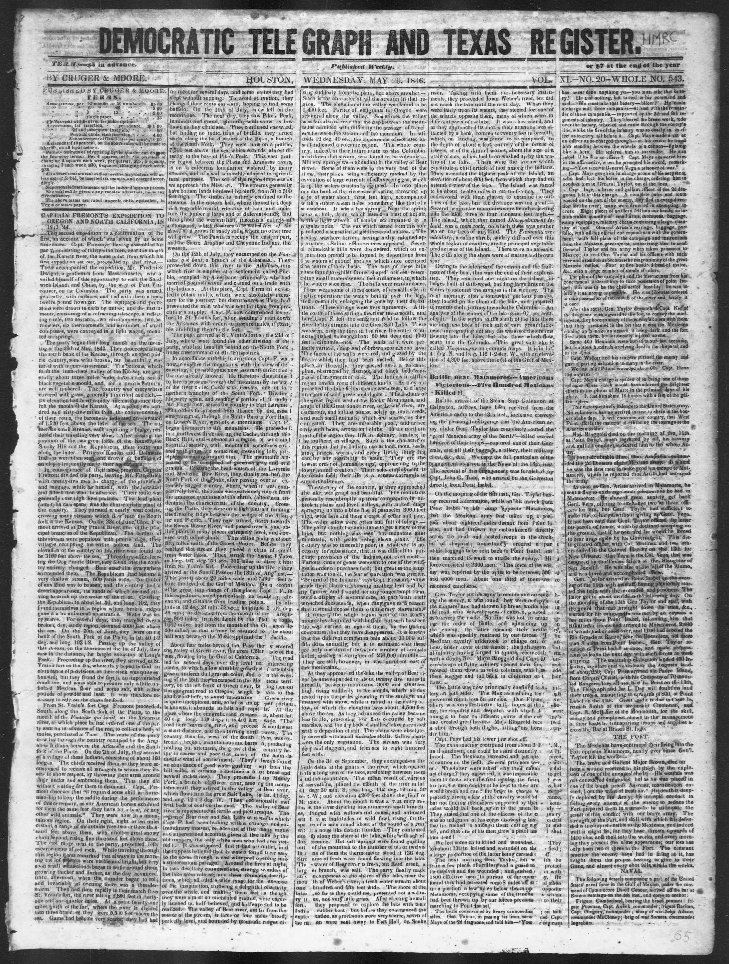 Democratic Telegraph and Texas Register (Houston, Tex.), Vol. 11, No. 20, Ed. 1, Wednesday, May 20, 1846                                                                                                      [Sequence #]: 1 of 4
