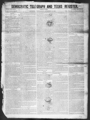 Primary view of object titled 'Democratic Telegraph and Texas Register (Houston, Tex.), Vol. 11, No. 37, Ed. 1, Wednesday, September 16, 1846'.