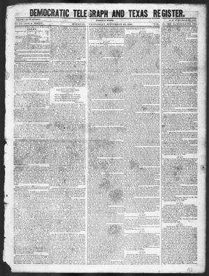 Primary view of object titled 'Democratic Telegraph and Texas Register (Houston, Tex.), Vol. 11, No. 38, Ed. 1, Wednesday, September 23, 1846'.