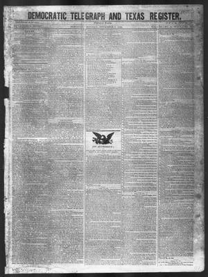 Primary view of object titled 'Democratic Telegraph and Texas Register (Houston, Tex.), Vol. 11, No. 44, Ed. 1, Monday, November 2, 1846'.