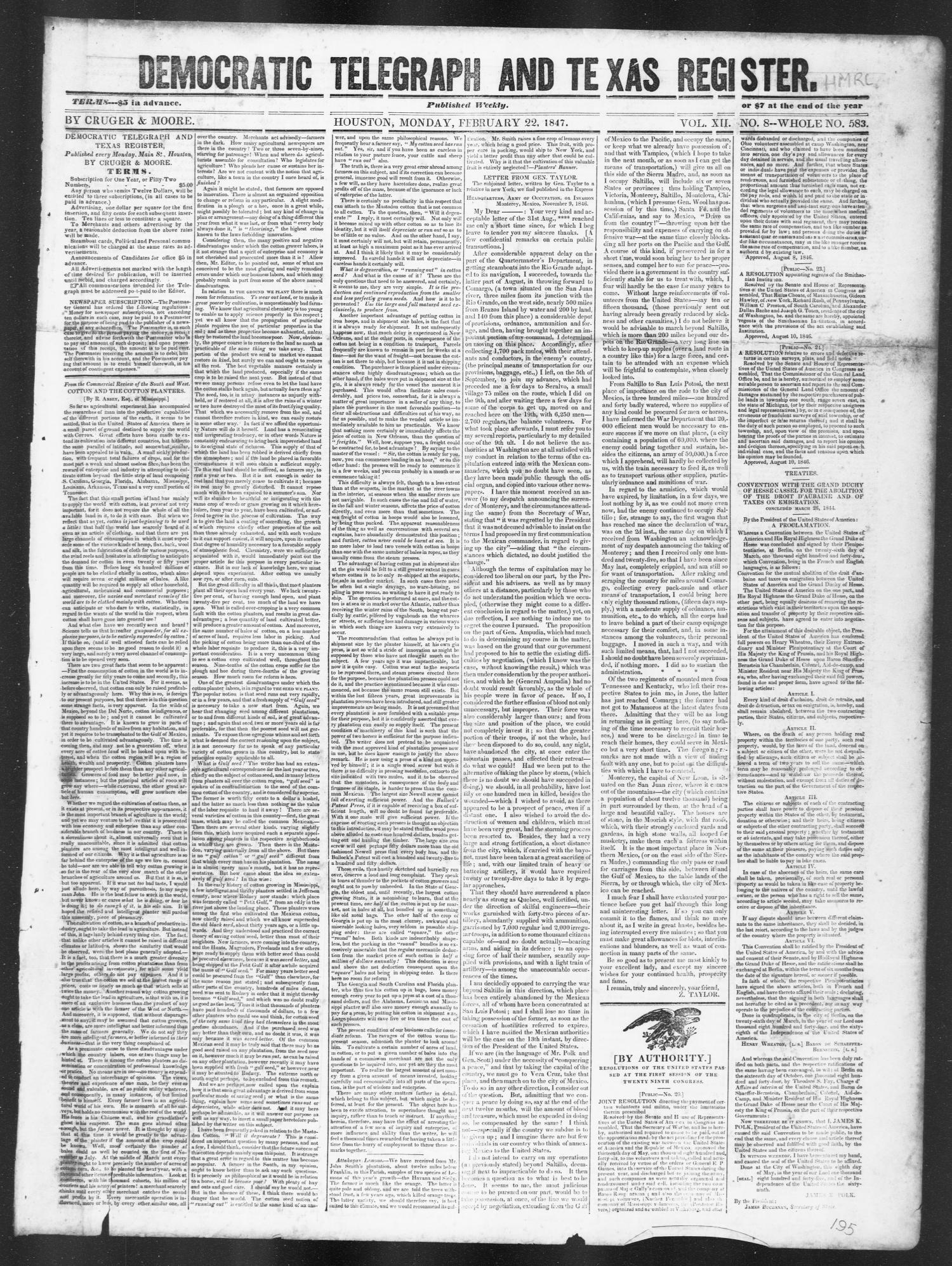 Democratic Telegraph and Texas Register (Houston, Tex.), Vol. 12, No. 8, Ed. 1, Monday, February 22, 1847                                                                                                      [Sequence #]: 1 of 4