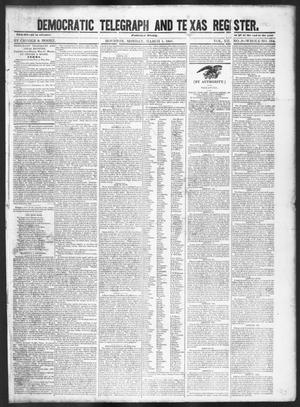 Primary view of object titled 'Democratic Telegraph and Texas Register (Houston, Tex.), Vol. 12, No. 9, Ed. 1, Monday, March 1, 1847'.