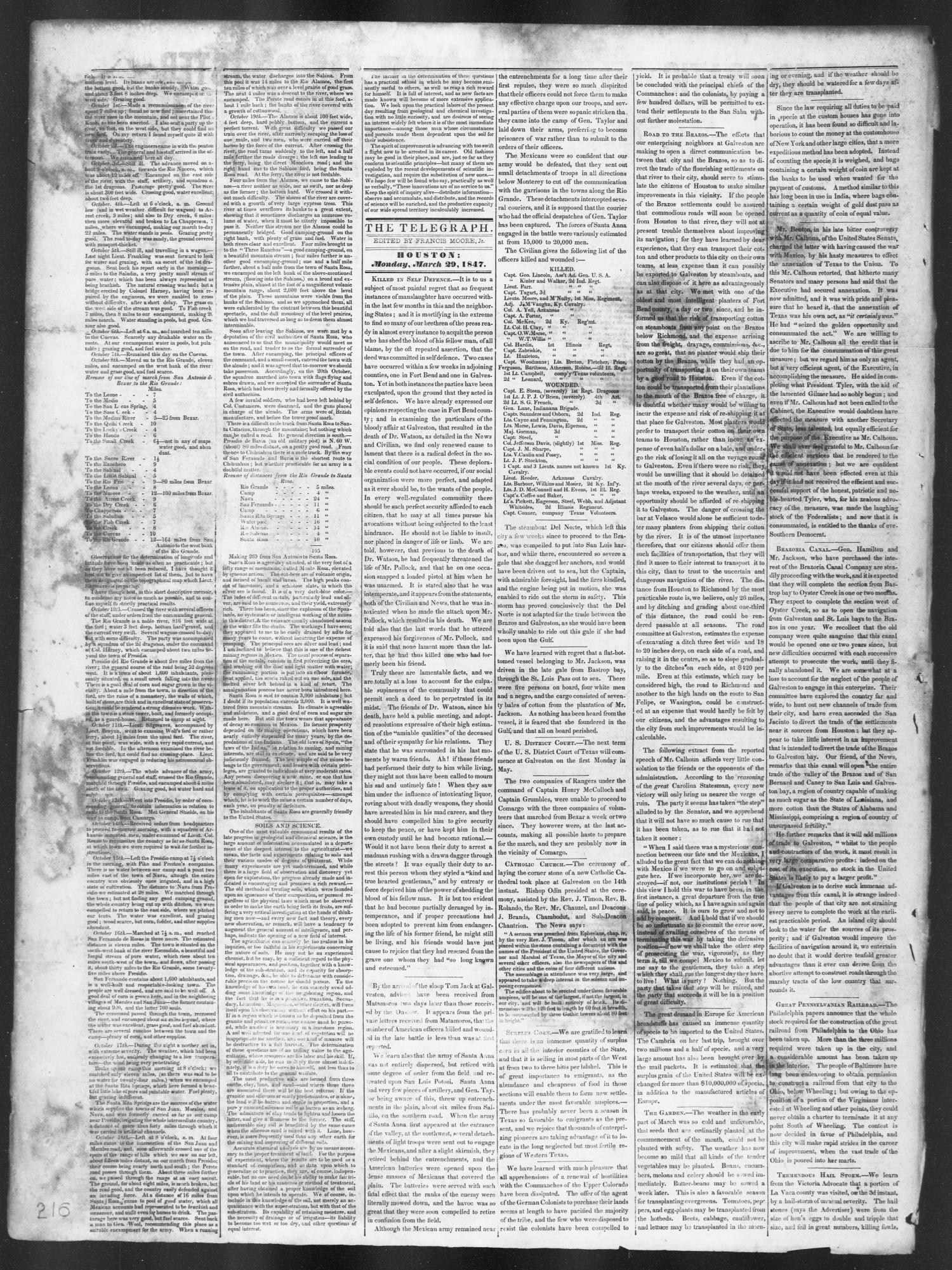 Democratic Telegraph and Texas Register (Houston, Tex.), Vol. 12, No. 13, Ed. 1, Monday, March 29, 1847                                                                                                      [Sequence #]: 2 of 4