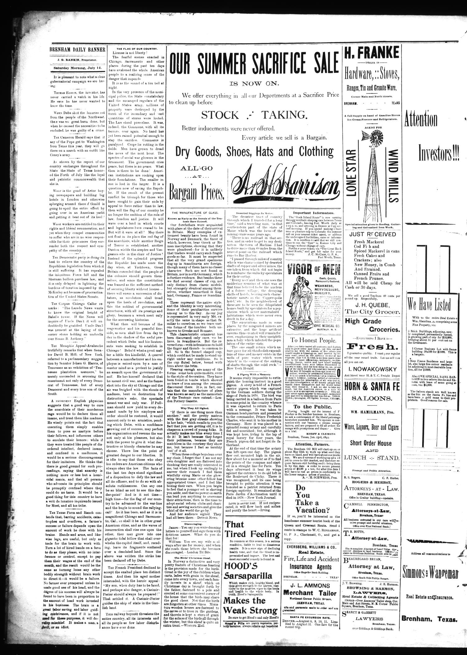 Brenham Daily Banner. (Brenham, Tex.), Vol. 19, No. 163, Ed. 1 Saturday, July 14, 1894                                                                                                      [Sequence #]: 2 of 4