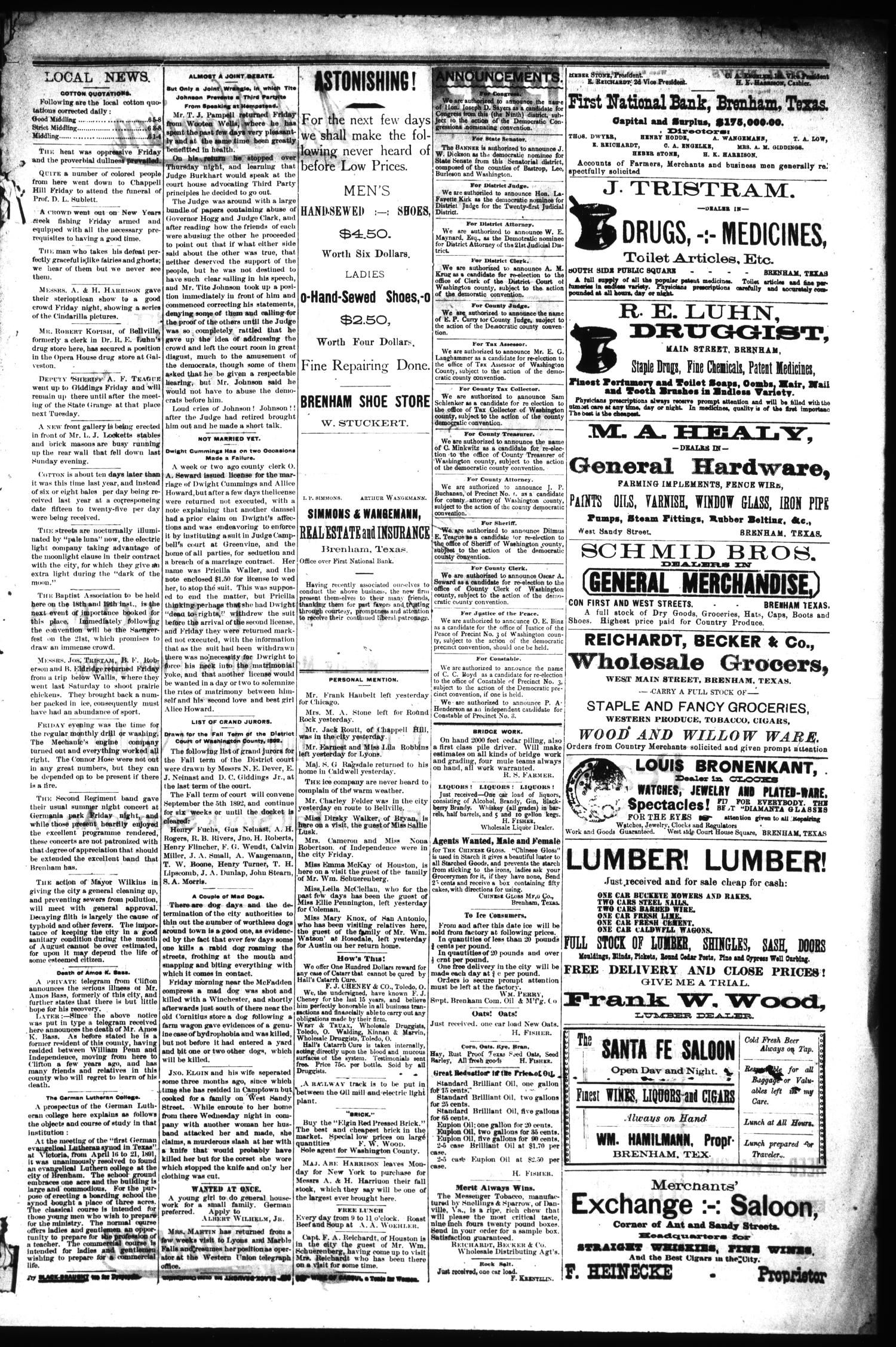Brenham Daily Banner. (Brenham, Tex.), Vol. 17, No. 189, Ed. 1 Saturday, August 6, 1892                                                                                                      [Sequence #]: 3 of 4