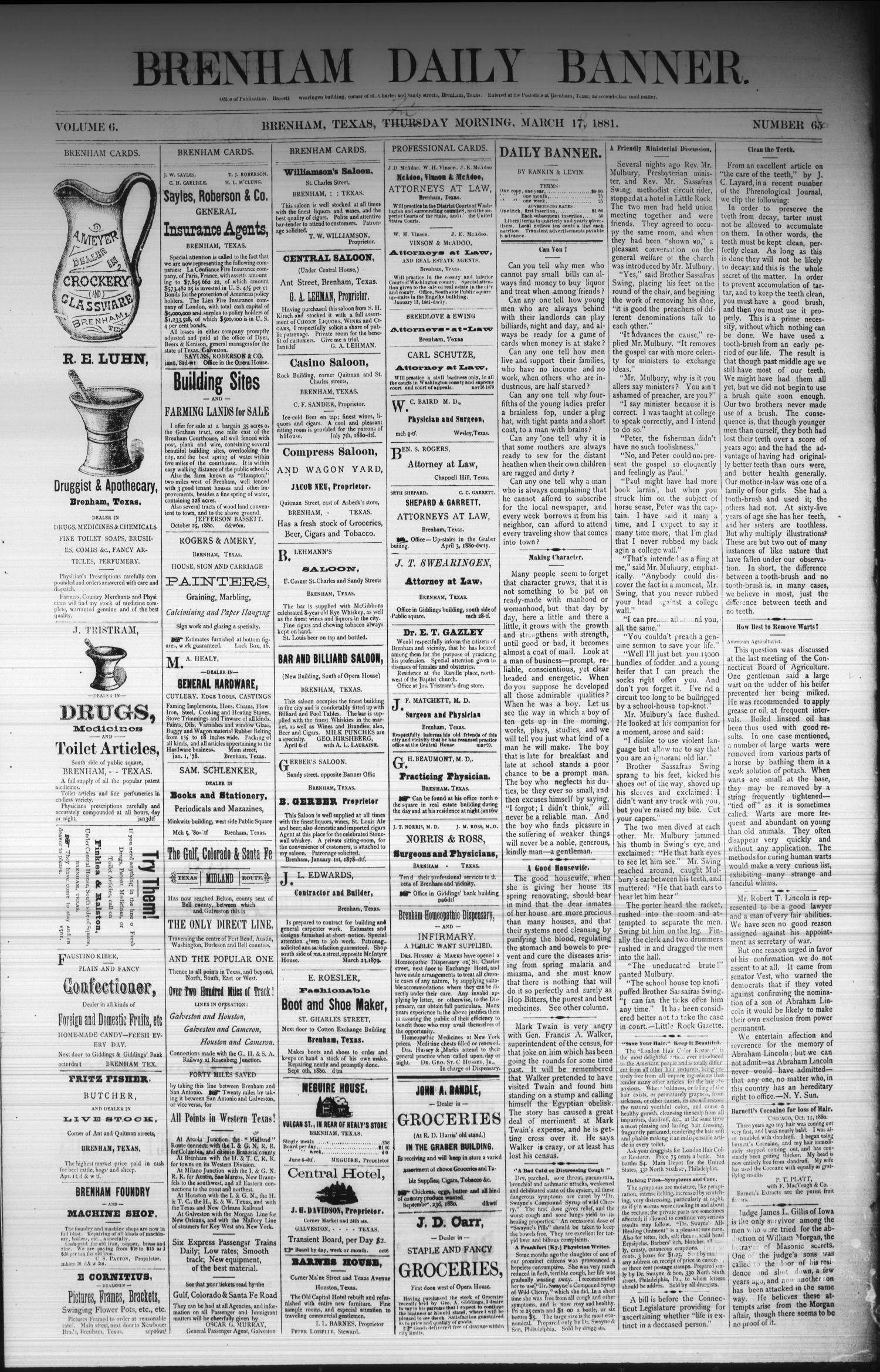 Brenham Daily Banner. (Brenham, Tex.), Vol. 6, No. 66, Ed. 1 Friday, March 18, 1881                                                                                                      [Sequence #]: 1 of 4