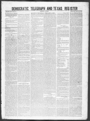 Primary view of object titled 'Democratic Telegraph and Texas Register (Houston, Tex.), Vol. 14, No. 5, Ed. 1, Thursday, February 1, 1849'.