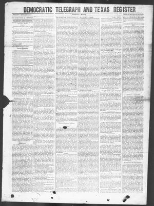 Primary view of object titled 'Democratic Telegraph and Texas Register (Houston, Tex.), Vol. 14, No. 9, Ed. 1, Thursday, March 1, 1849'.