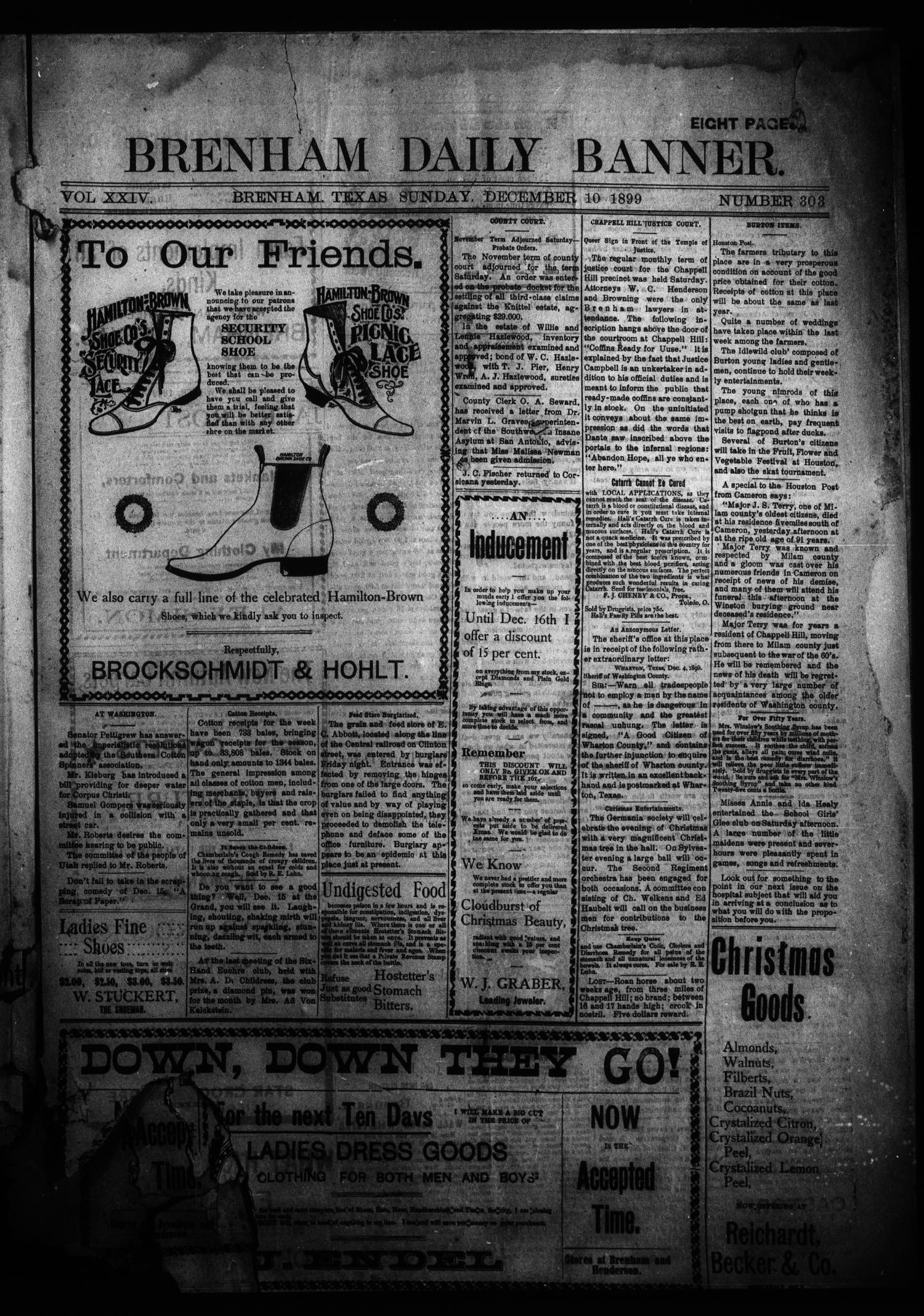 Brenham Daily Banner. (Brenham, Tex.), Vol. 24, No. 303, Ed. 1 Sunday, December 10, 1899                                                                                                      [Sequence #]: 1 of 10