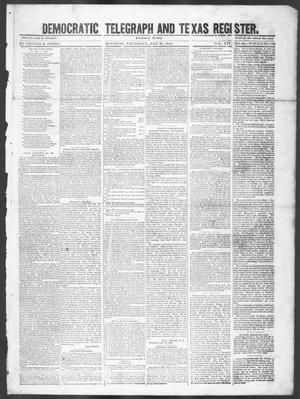 Primary view of Democratic Telegraph and Texas Register (Houston, Tex.), Vol. 14, No. 30, Ed. 1, Thursday, July 26, 1849