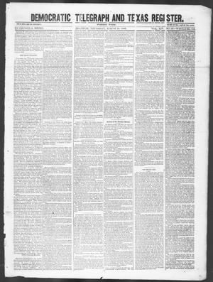 Primary view of object titled 'Democratic Telegraph and Texas Register (Houston, Tex.), Vol. 14, No. 33, Ed. 1, Thursday, August 16, 1849'.