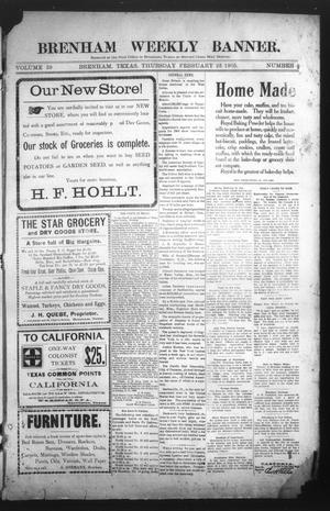 Primary view of Brenham Weekly Banner. (Brenham, Tex.), Vol. 39, No. 8, Ed. 1 Thursday, February 23, 1905