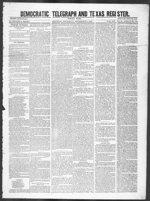 Primary view of object titled 'Democratic Telegraph and Texas Register (Houston, Tex.), Vol. 14, No. 36, Ed. 1, Thursday, September 6, 1849'.