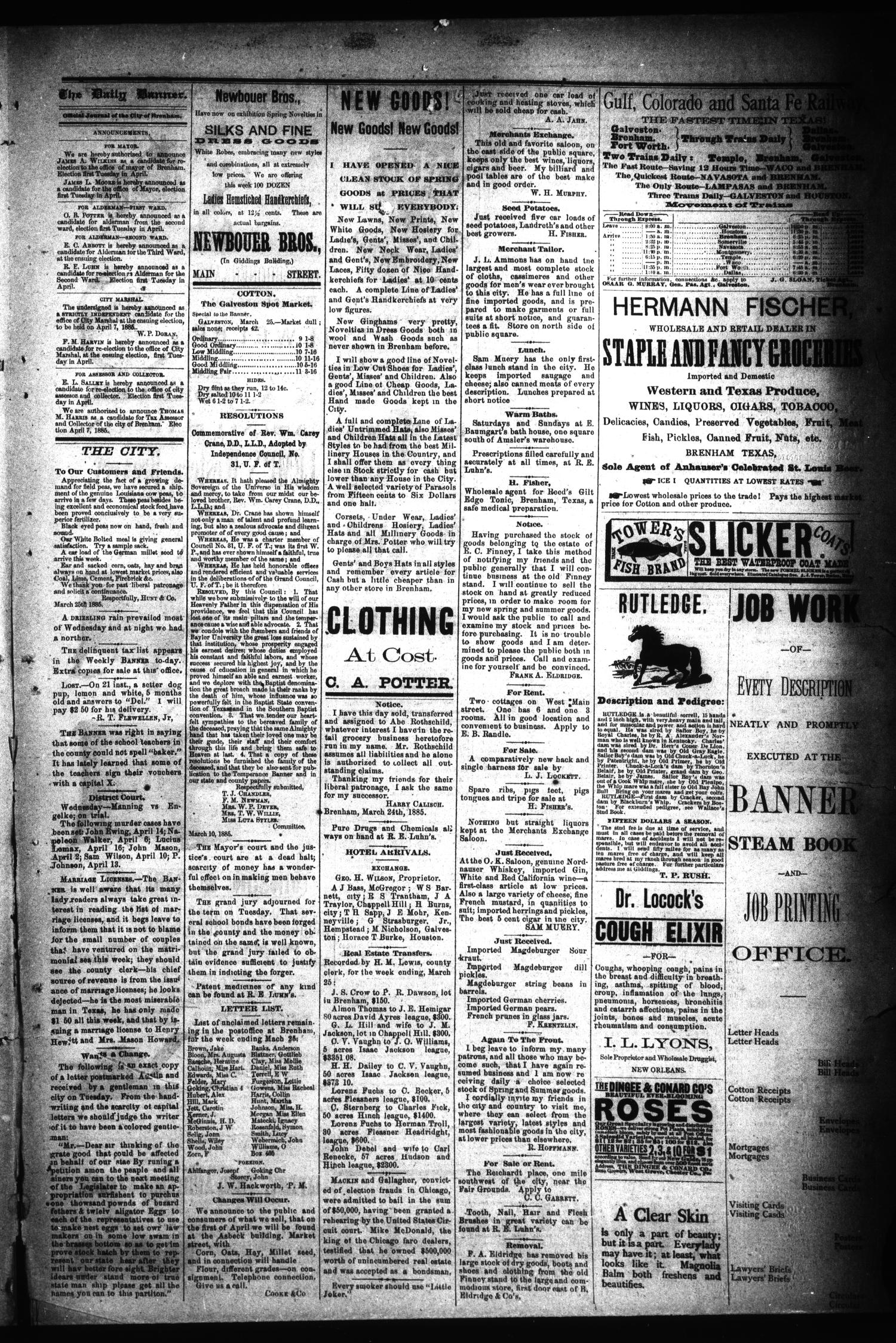 Brenham Daily Banner. (Brenham, Tex.), Vol. 10, No. 73, Ed. 1 Thursday, March 26, 1885                                                                                                      [Sequence #]: 3 of 4