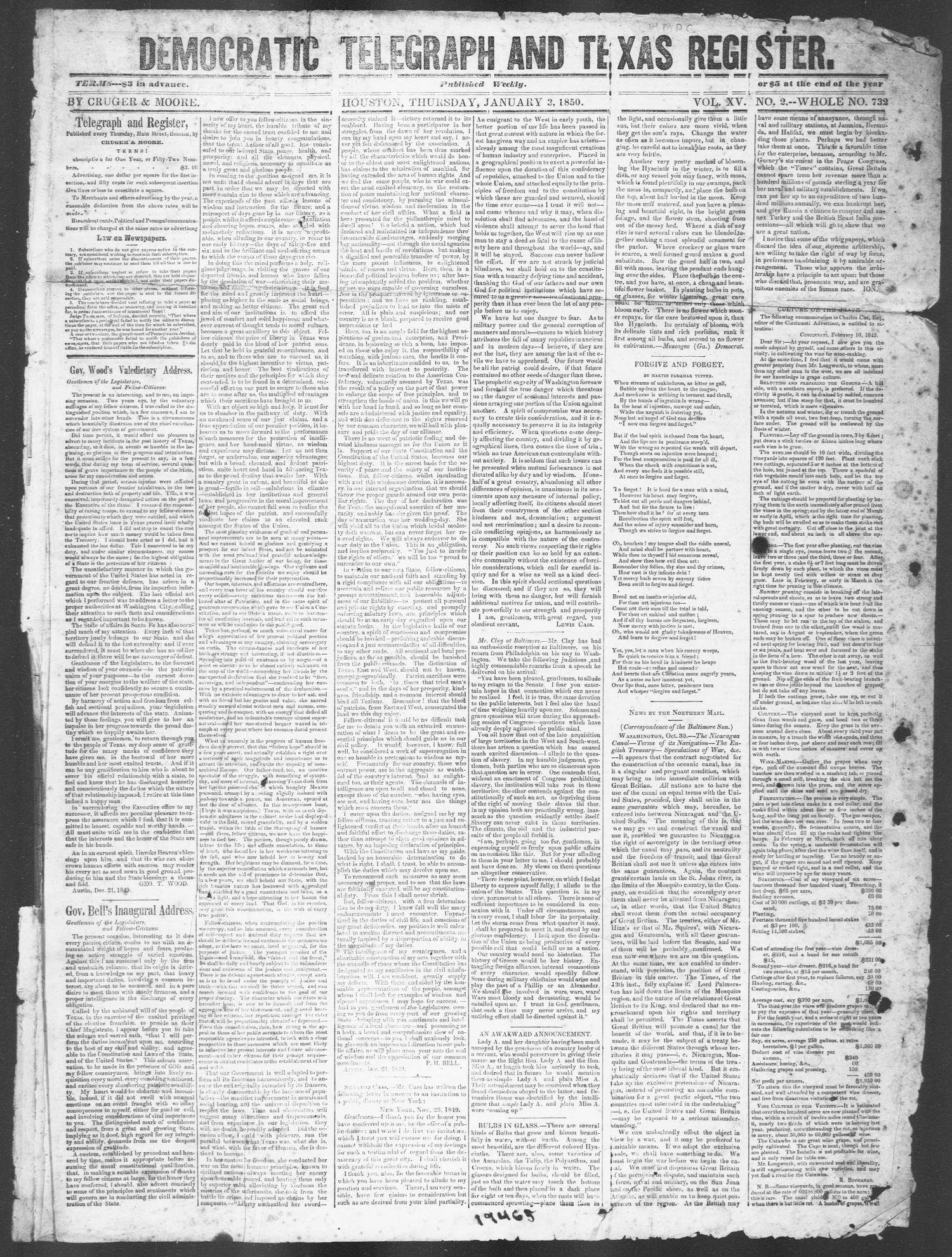 Democratic Telegraph and Texas Register (Houston, Tex.), Vol. 15, No. 2, Ed. 1, Thursday, January 3, 1850                                                                                                      [Sequence #]: 1 of 4