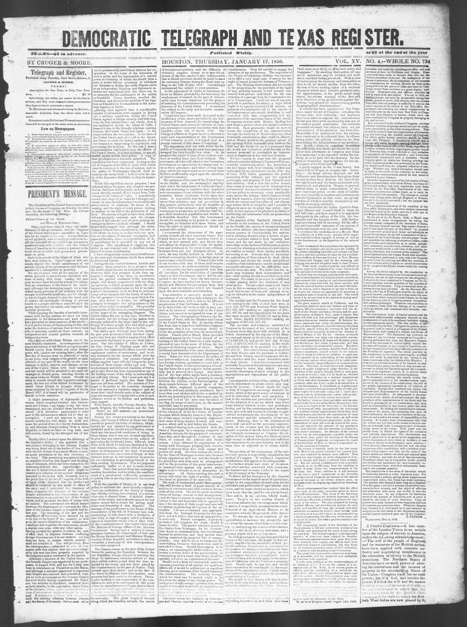 Democratic Telegraph and Texas Register (Houston, Tex.), Vol. 15, No. 4, Ed. 1, Thursday, January 17, 1850                                                                                                      [Sequence #]: 1 of 4