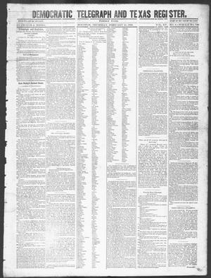 Primary view of object titled 'Democratic Telegraph and Texas Register (Houston, Tex.), Vol. 15, No. 8, Ed. 1, Thursday, February 21, 1850'.