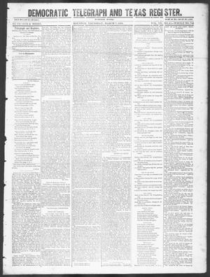 Primary view of object titled 'Democratic Telegraph and Texas Register (Houston, Tex.), Vol. 15, No. 10, Ed. 1, Thursday, March 7, 1850'.
