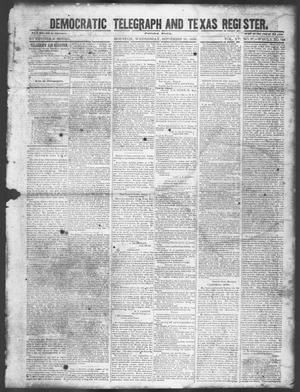 Primary view of object titled 'Democratic Telegraph and Texas Register (Houston, Tex.), Vol. 15, No. 37, Ed. 1, Wednesday, September 11, 1850'.