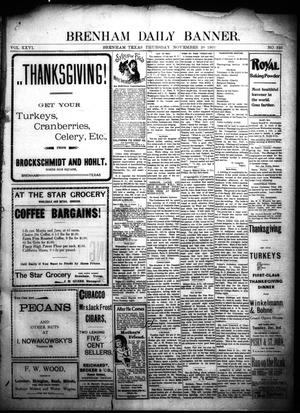 Primary view of object titled 'Brenham Daily Banner. (Brenham, Tex.), Vol. 26, No. 325, Ed. 1 Thursday, November 28, 1901'.