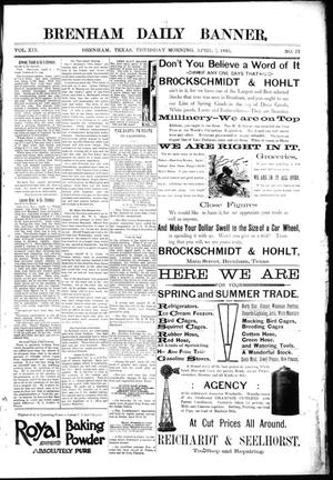Primary view of object titled 'Brenham Daily Banner. (Brenham, Tex.), Vol. 19, No. 77, Ed. 1 Thursday, April 5, 1894'.