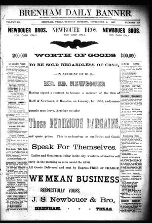 Primary view of object titled 'Brenham Daily Banner. (Brenham, Tex.), Vol. 12, No. 206, Ed. 1 Tuesday, September 6, 1887'.