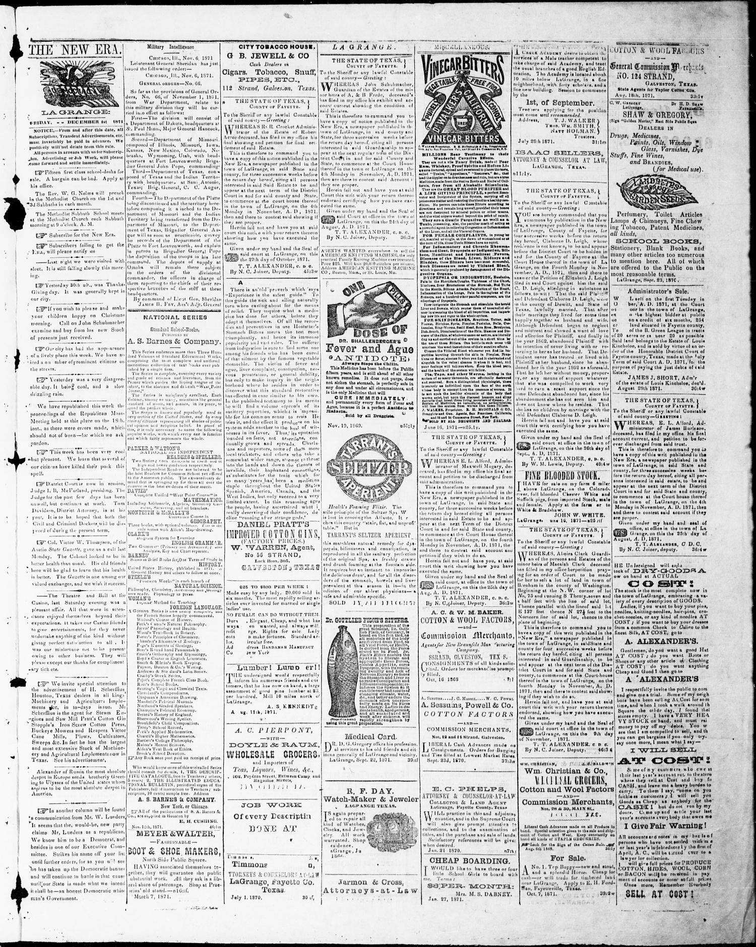 La Grange New Era (La Grange, Tex.), Vol. 6, No. 49, Ed. 1, Friday, December 1, 1871