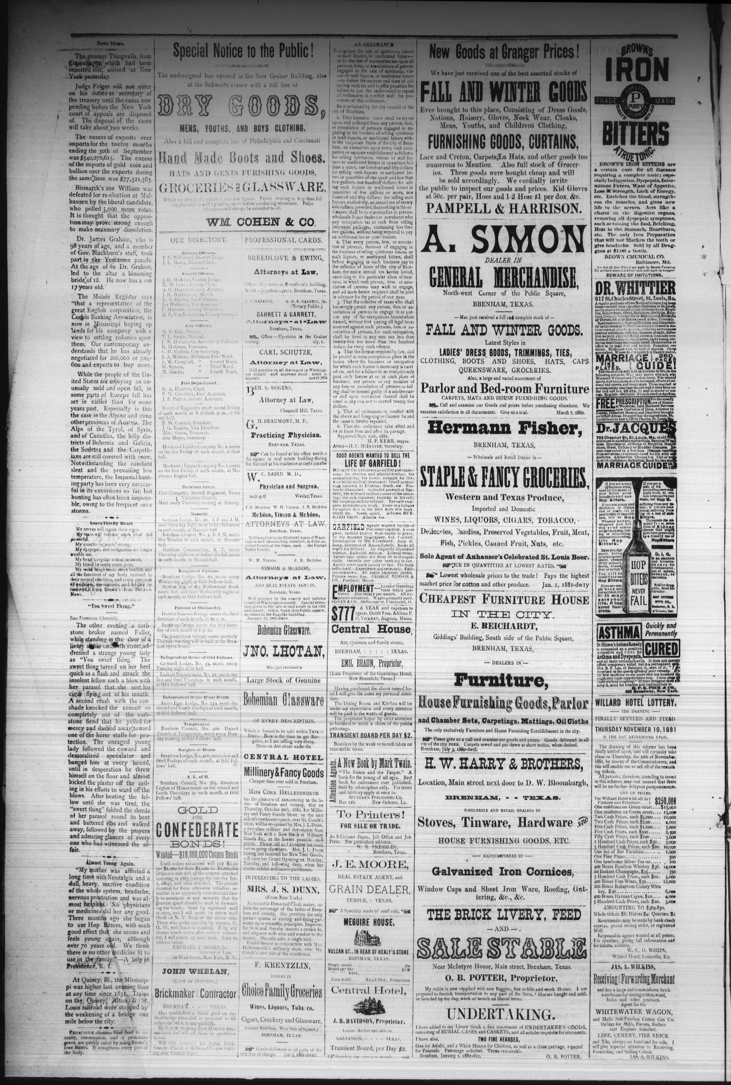 Brenham Daily Banner  (Brenham, Tex ), Vol  6, No  264, Ed  1 Friday