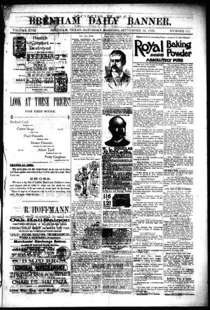 Primary view of object titled 'Brenham Daily Banner. (Brenham, Tex.), Vol. 17, No. 151, Ed. 1 Saturday, September 24, 1892'.