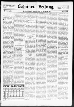 Primary view of object titled 'Seguiner Zeitung. (Seguin, Tex.), Vol. 30, No. 27, Ed. 1 Friday, February 25, 1921'.