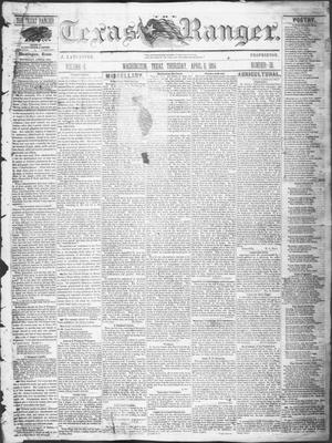 Primary view of Texas Ranger. (Washington, Tex.), Vol. 5, No. 36, Ed. 1, Thursday, April 6, 1854