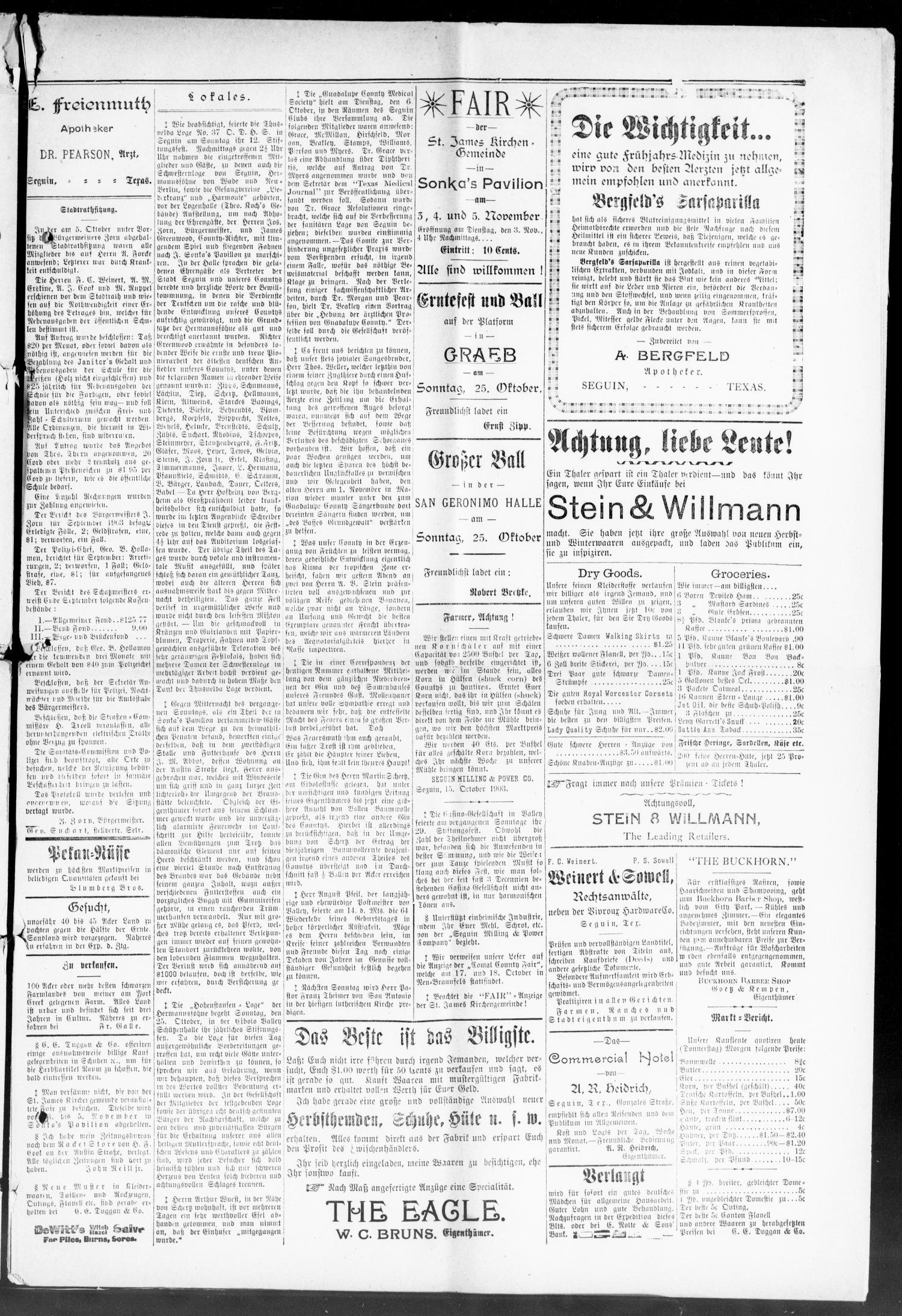 Seguin Zeitung. (Seguin, Tex.), Vol. 13, No. 9, Ed. 1 Thursday ...