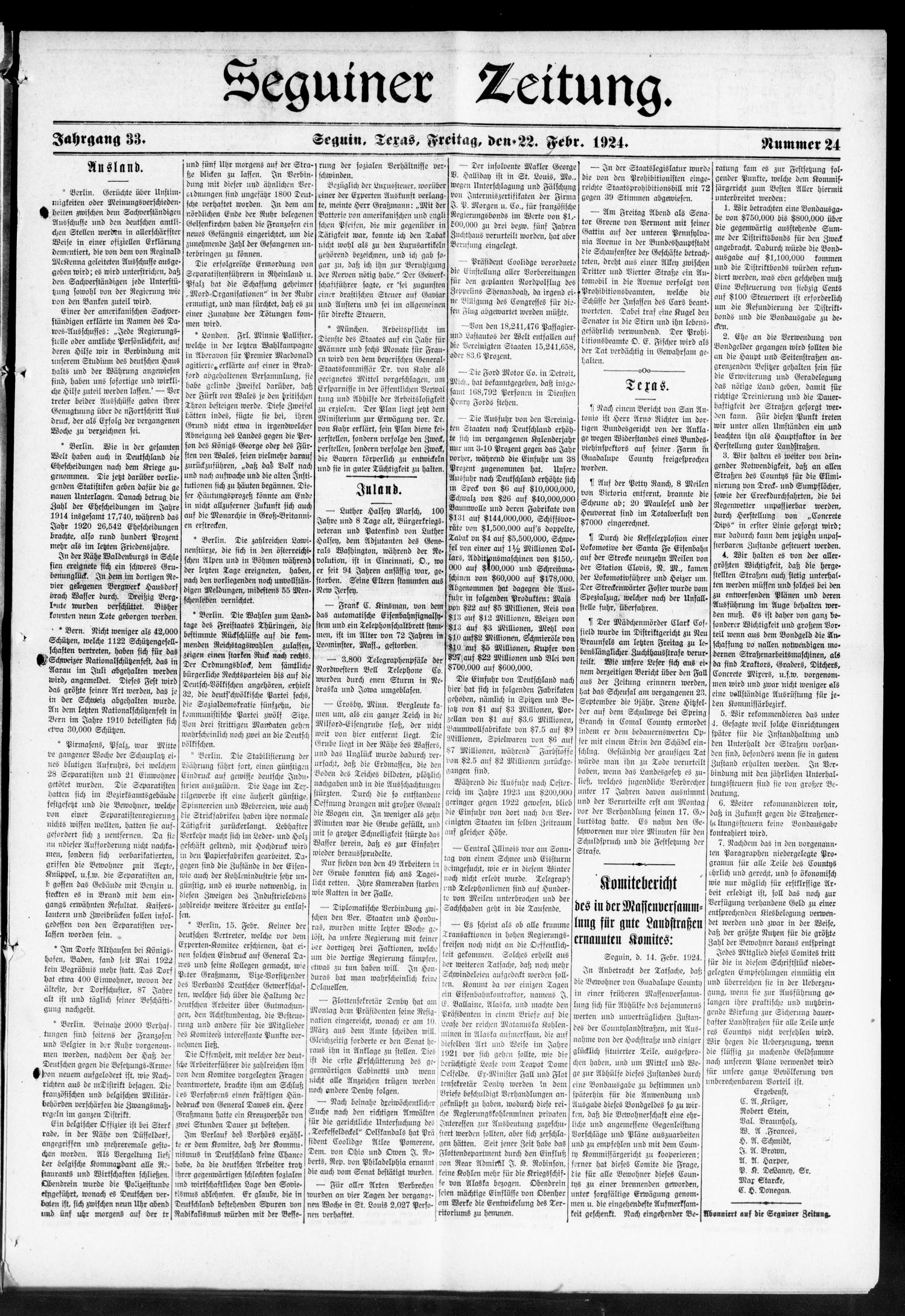 Seguiner Zeitung. (Seguin, Tex.), Vol. 33, No. 24, Ed. 1 Friday, February 22, 1924                                                                                                      [Sequence #]: 1 of 8