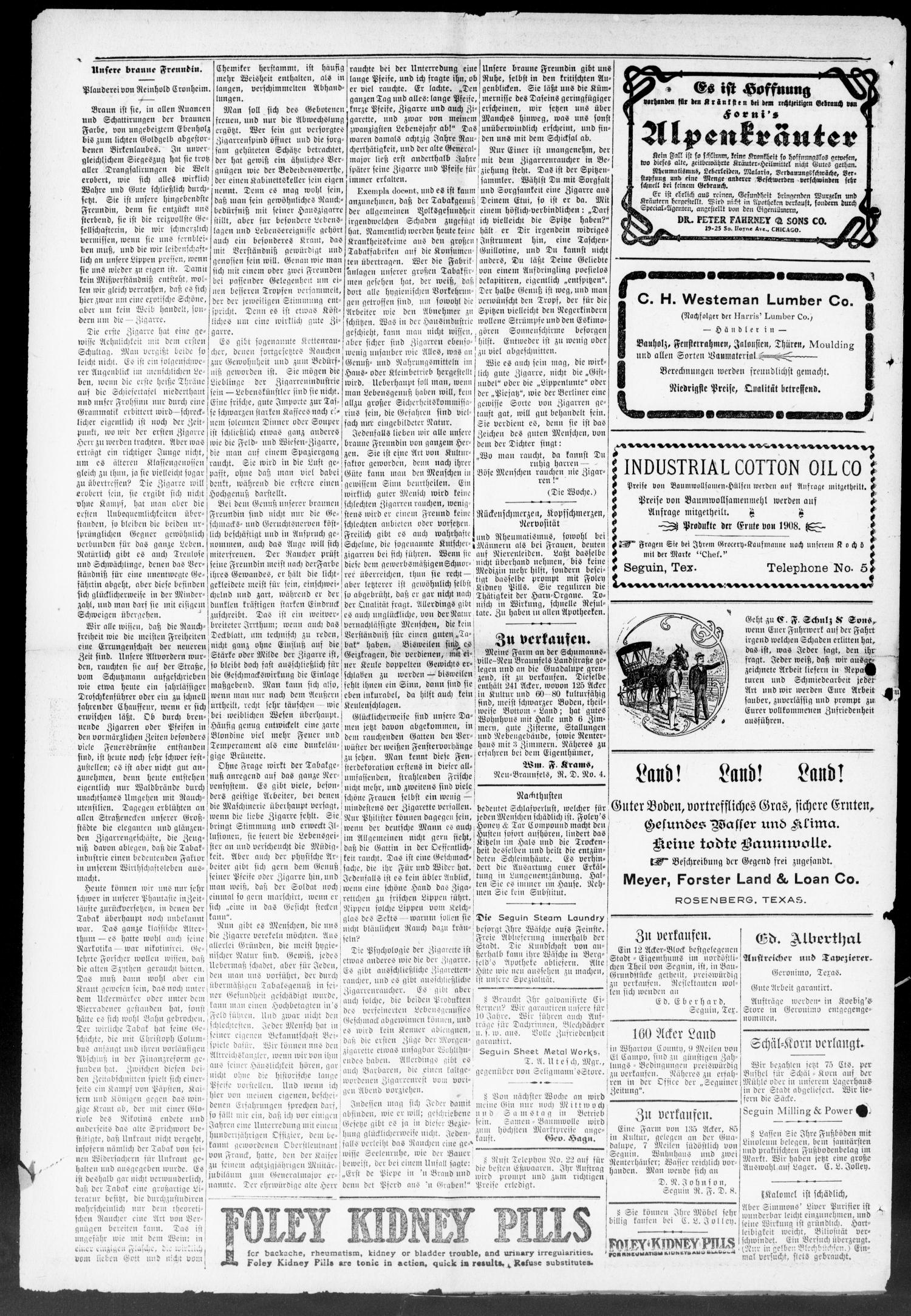 Seguiner Zeitung. (Seguin, Tex.), Vol. 21, No. 11, Ed. 1 Thursday, November 2, 1911                                                                                                      [Sequence #]: 2 of 8