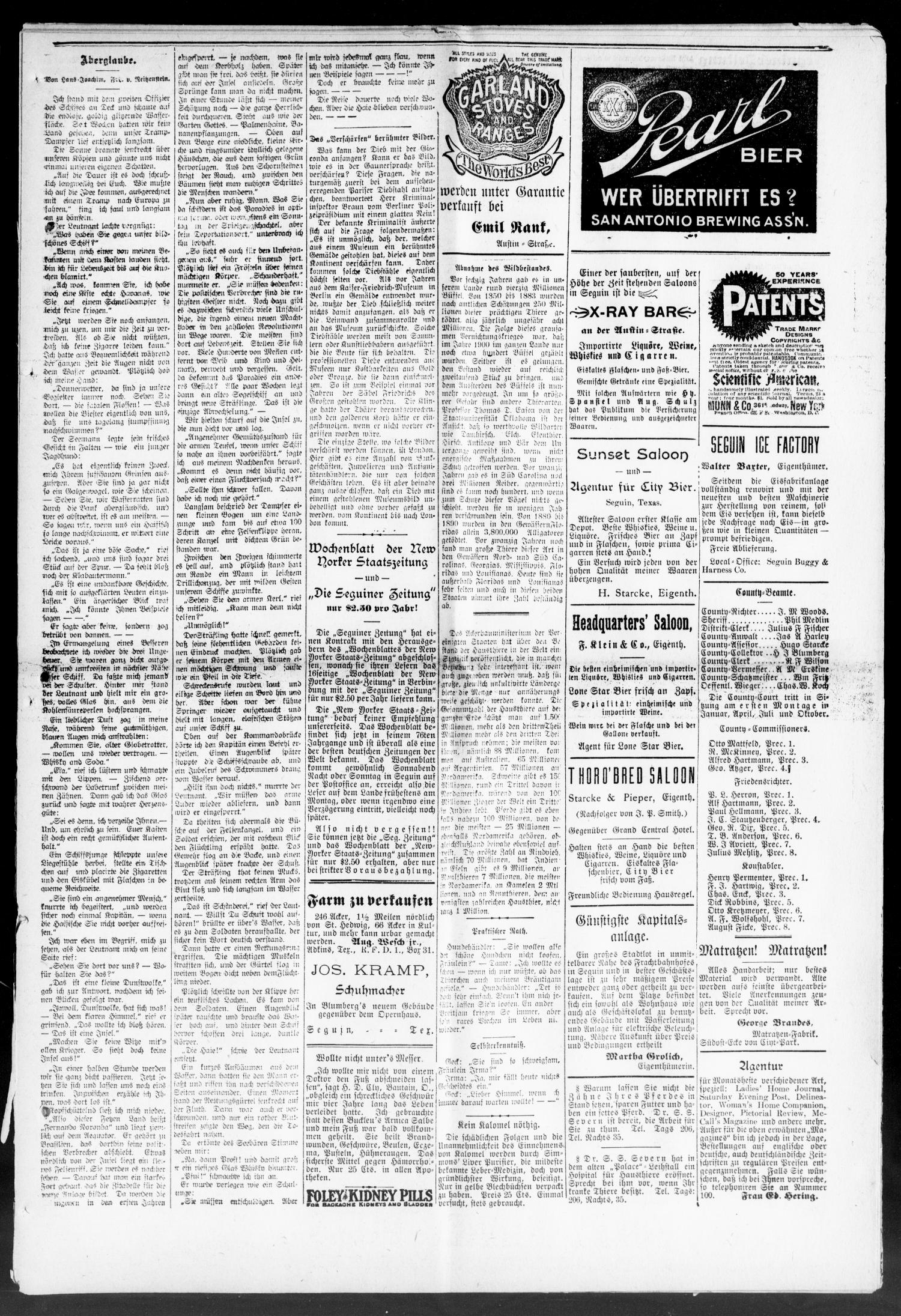 Seguiner Zeitung. (Seguin, Tex.), Vol. 21, No. 11, Ed. 1 Thursday, November 2, 1911                                                                                                      [Sequence #]: 3 of 8