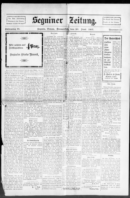 Seguiner Zeitung. (Seguin, Tex.), Vol. 16, No. 45, Ed. 1 Thursday ...