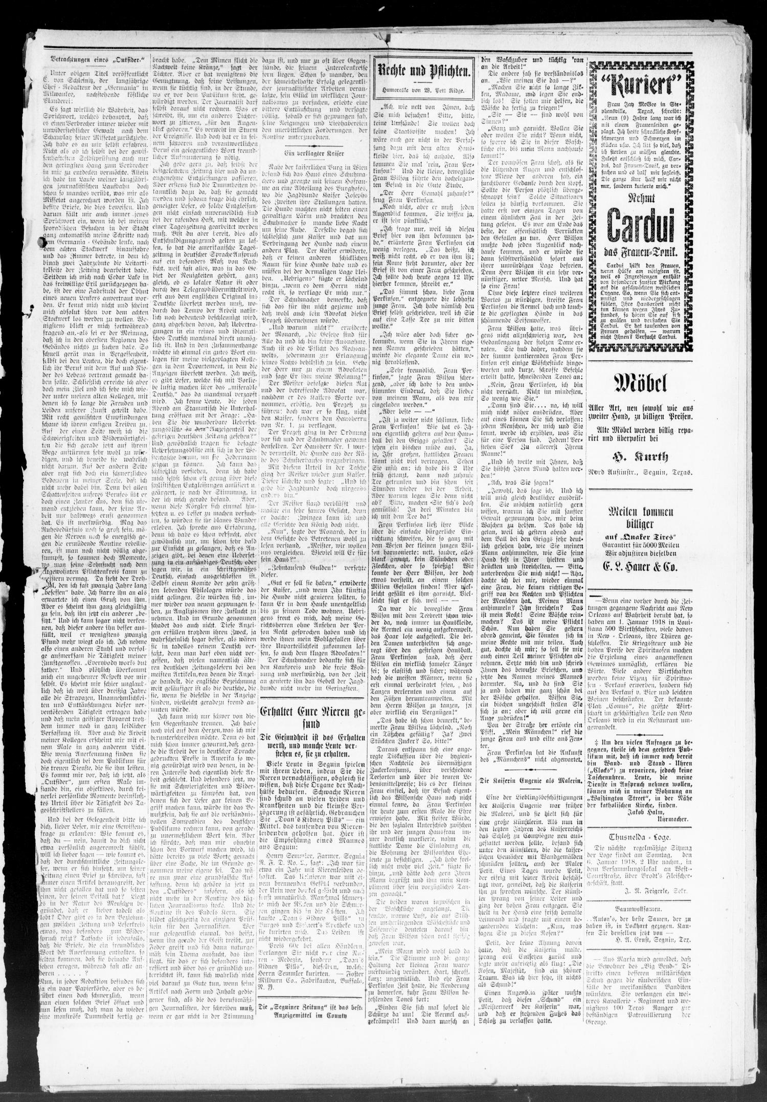 Seguiner Zeitung. (Seguin, Tex.), Vol. 27, No. 20, Ed. 1 Thursday, January 3, 1918                                                                                                      [Sequence #]: 3 of 8