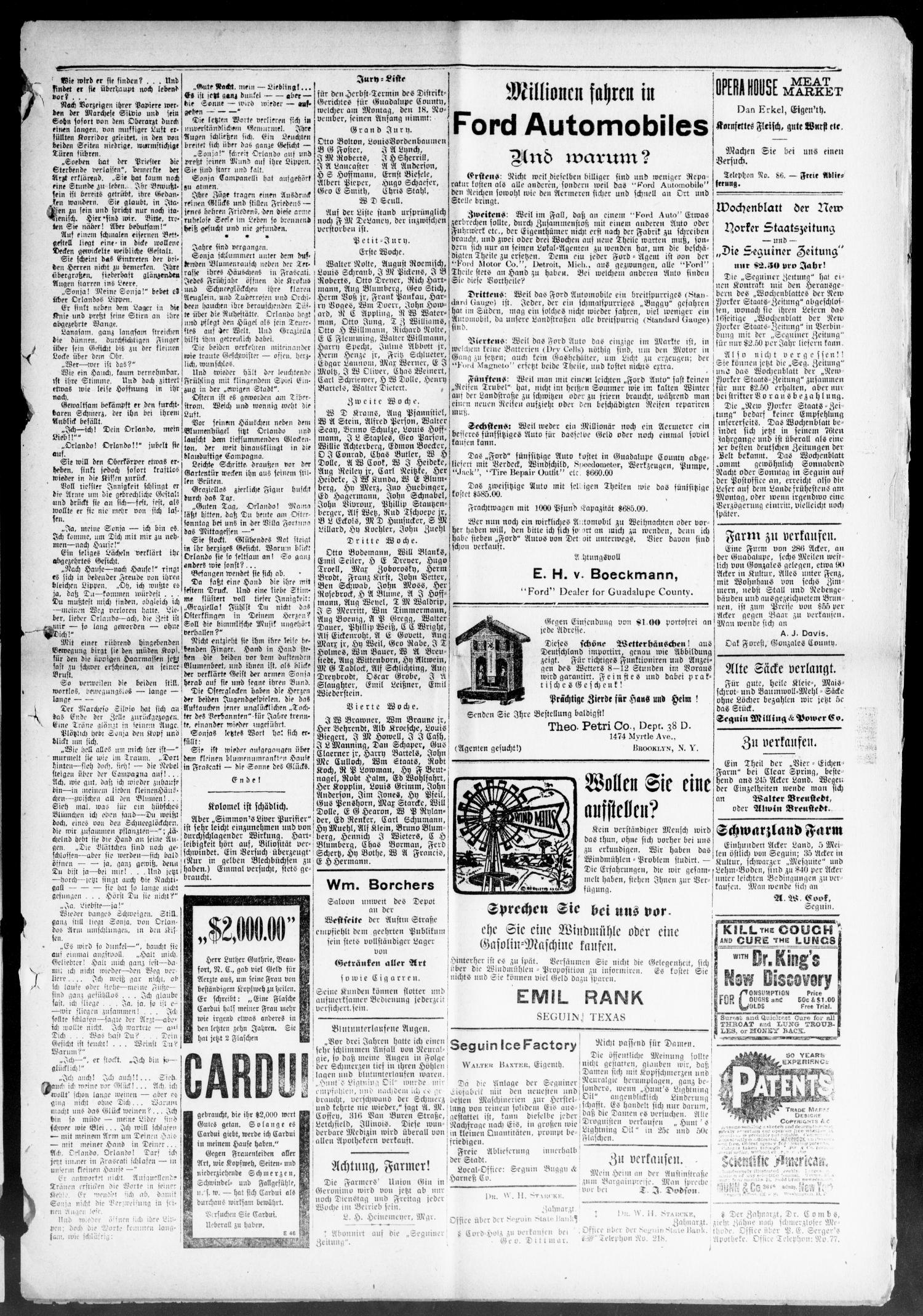 Seguiner Zeitung. (Seguin, Tex.), Vol. 22, No. 13, Ed. 1 Thursday ...