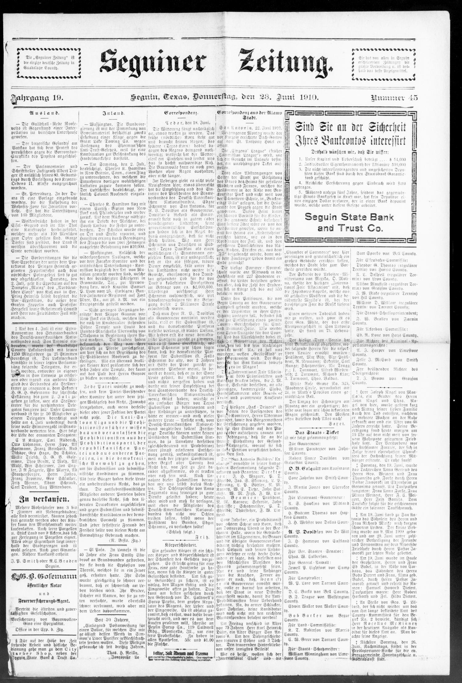 Seguiner Zeitung. (Seguin, Tex.), Vol. 19, No. 45, Ed. 1 Thursday, June 23, 1910                                                                                                      [Sequence #]: 1 of 8