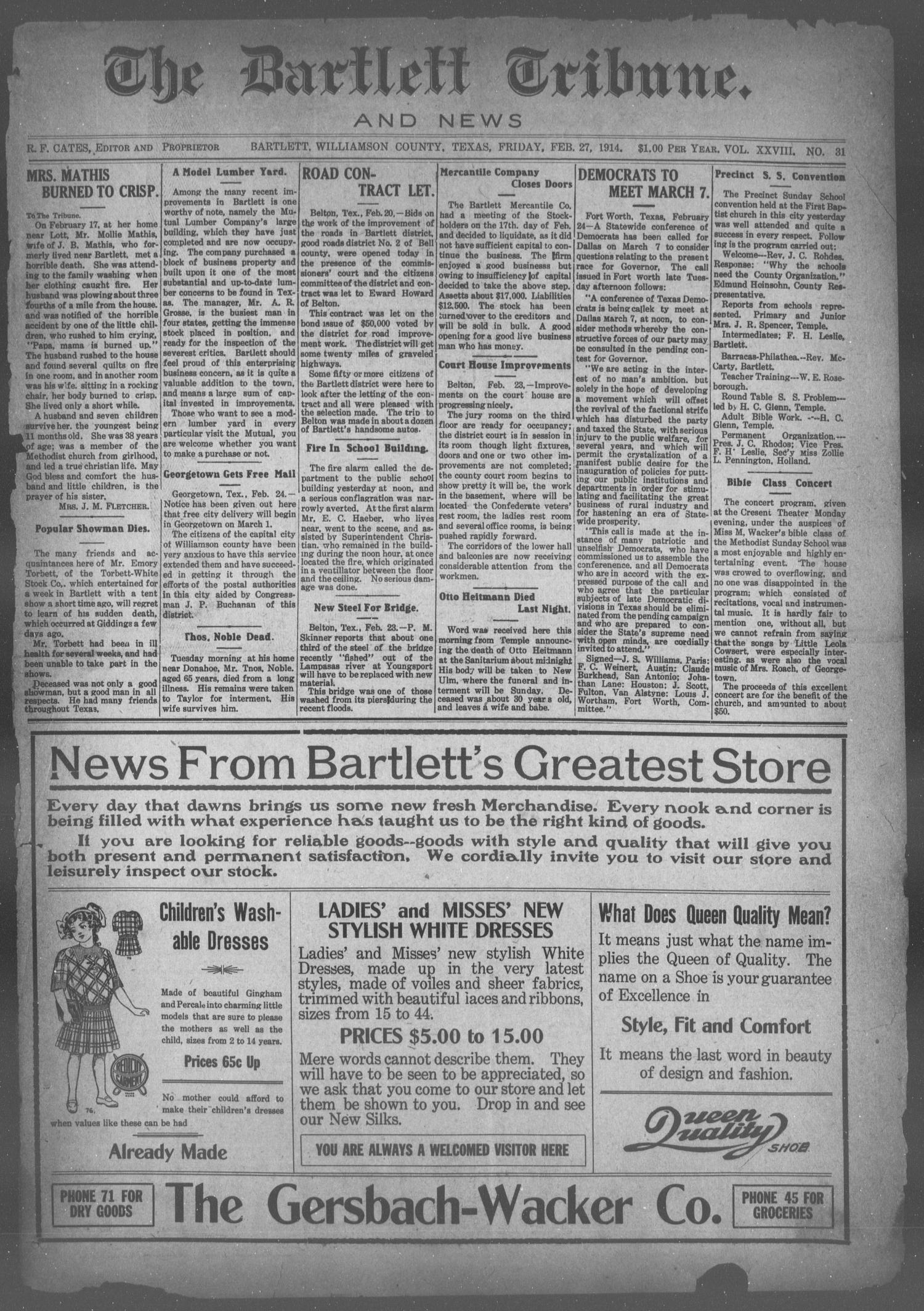 The Bartlett Tribune and News (Bartlett, Tex.), Vol. 28, No. 31, Ed. 1, Friday, February 27, 1914                                                                                                      [Sequence #]: 1 of 8