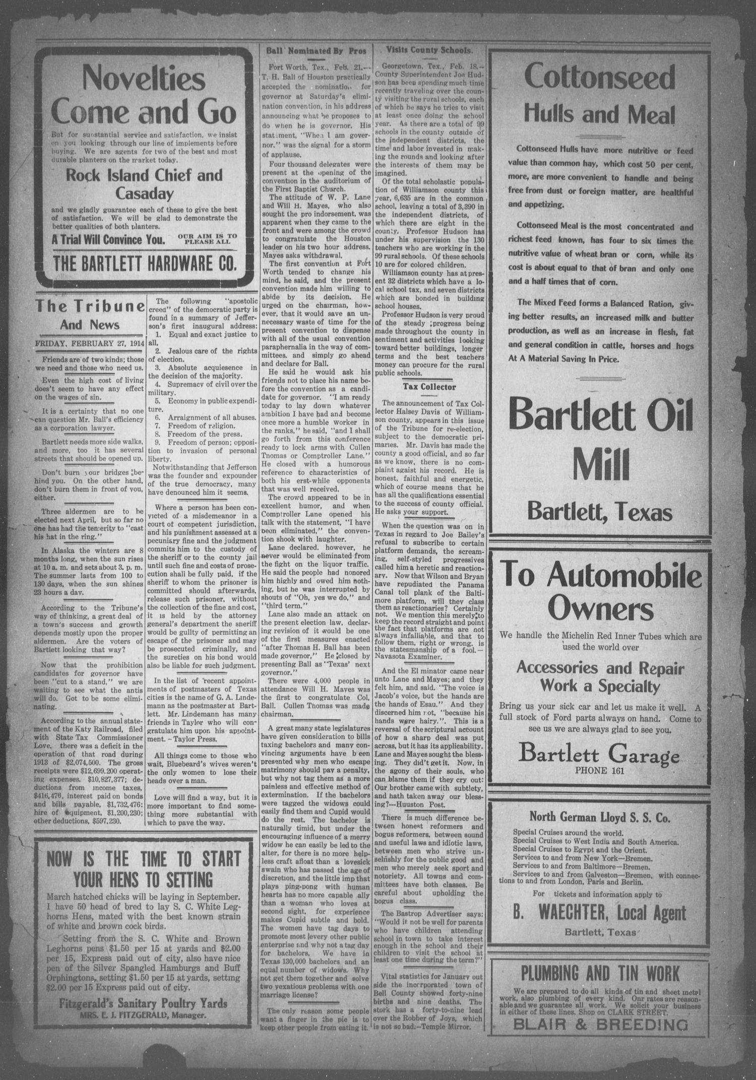 The Bartlett Tribune and News (Bartlett, Tex.), Vol. 28, No. 31, Ed. 1, Friday, February 27, 1914                                                                                                      [Sequence #]: 2 of 8