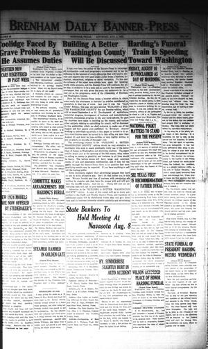 Primary view of object titled 'Brenham Daily Banner-Press (Brenham, Tex.), Vol. 40, No. 110, Ed. 1 Saturday, August 4, 1923'.